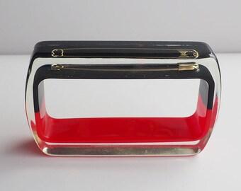 Unique two color safety pin plastic rectangle lucite bracelet