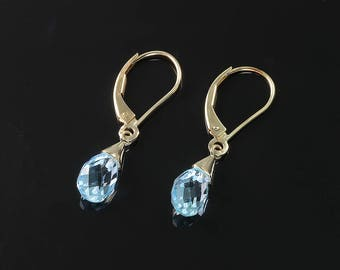 Vintage! 14K Yellow Gold, Blue Topaz Briolette Earrings