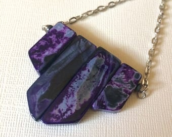 Black and Purple Agate Necklace  on Silver Cable Chain