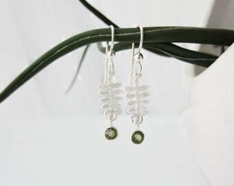 Peridot earrings, peridot jewelry, august birthstone jewelry, silver earrings, fern jewelry, woodland wedding earrings, delicate earrings
