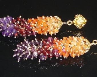 The Endowment earrings - amethyst, garnets, red spinel, carnelian and vermeil