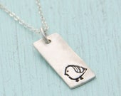 ON SALE MINI Bird necklace, skinny rectangular pendant, eco-friendly silver or nickel free white bronze. Handcrafted by Chocolate and Steel