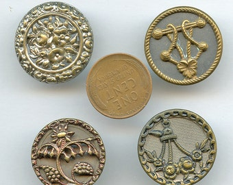 Victorian Large Buttons Lot of (4) UNUSUAL Flowers Floral Antique Metal Picture Pictorial 2945