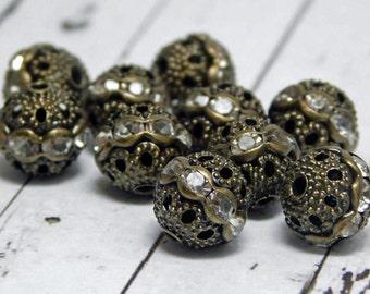 Rhinestone Beads - Filigree Beads - Round Filigree - Bronze Filigree - Brass Filigree - Rhinestone Spacers - 10mm - 10pc (4497)
