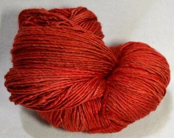SALE  Yarn Hollow Brocade Hand Dyed Merino Silk Worsted Weight Yarn in Sumac Semi Solid