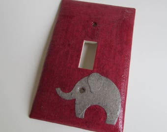 Elephant on Red Light switch Plate- single- Recycled Materials