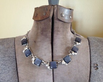 Vintage Thermoset Lucite Coro Moonglow Necklace Choker Luminous Smoky Blue Grey Silver Tone Lucite