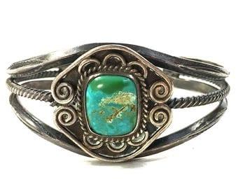 Navajo Sterling Silver & Turquoise Cuff / Vintage Native American Bracelet / Southwest Western Hippie Boho Ethnic Tribal Bohemian Gypsy