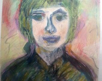 Unique portrait painting on canvas, wonderful colors, naive artist, self taught artist, acrylic