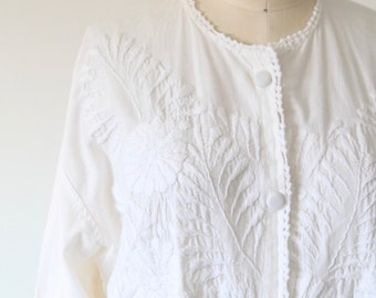 Vintage White Button Down Top with Embroidery