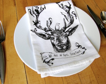 Deer & Birds Napkins Set, Hand Printed Cloth Napkins, Soft White Cotton,Eco Friendly, Holiday Gift, Housewarming Gift