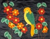 NEW YEAR SALE Vintage Chenille Heavy Embroidered Square Pillow Cover Parrot and Flowers