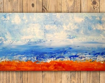 beach painting /  abstract seascape / affordable original painting / affordable art / affordable wall art