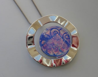 Periwinkle Blue Dichroic Fused Glass in a Silver Setting, Blue Fused Glass Jewelry, Round Glass Pendant - Peaceful Dreams