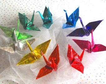 10 Rainbow Peace Crane Birds Wedding Cake Topper Graduation Party Favor Origami Christmas Ornament Paper Table Decoration Good Deal Set