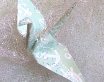 Mint Green Anchor Peace Crane Bird Wedding Cake Topper Party Favor Origami Ornament Paper Place Card Holder Nautical Table Decoration White