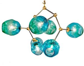 7 Globe  Aqua Hand Blown Glass Geo-Cluster Branch Chandelier Hanging Light Sculpture