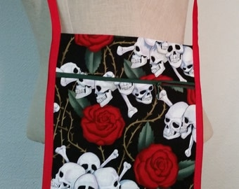 Boho purse with skulls and roses