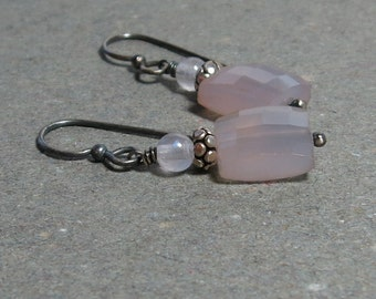 Lavender Chalcedony Earrings Rose Quartz Oxidized Sterling Silver Earrings Pink Gemstone Earrings