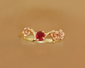 Cherry Blossom Branch,twig ring,branch ring,alternative engagement ring,,ring, gold twig ring,