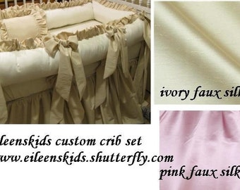 Linen Satin or Faux Silk Crib Set Many Colors Available