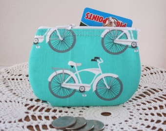 Vintage Cruiser Bicycle Business Card Clutch Zipper Small Essential Oils Case Gift Card Holder in  Made in the USA