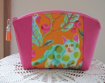 Disco Kitty Medium Clutch Cosmetic Bag  Purse  Wedding Bridesmaid Gift Essential Oils Case Toiletry Kit Travel Case Camera Bag Tabby Road