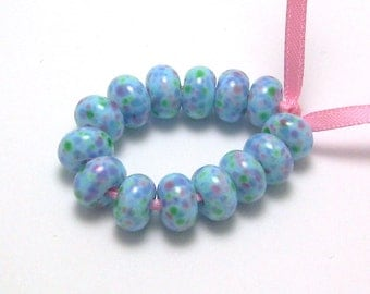 Handmade Lampwork Glass Mini Beads - Soft Bouquet