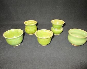SALE  set of mini vessels, stoneware pottery, dishwasher and food safe
