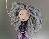 Chime Doll - Peace - Charm - silver - purple - brass bells - blue - bamboo yarn - glass beads - art doll - polymer clay - grey - gray - ooak