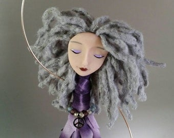 Chime Doll - Peace - Charm - silver - purple - brass bells - blue - bamboo yarn - glass beads - art doll - polymer clay - grey - gray - ooak