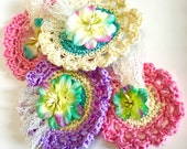 Reserved for Michelle, Fancy Embellished Crochet Flowers, M Day Flowers, F with  fabric flowers, glitter, wedding flowers, pastel colors,