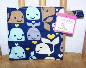 Reusable Little Snack Bag - pouch adults kids whales eco friendly by PETUNIAS