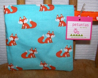 Reusable Little Snack Bag - pouch adults kids fox eco friendly by PETUNIAS