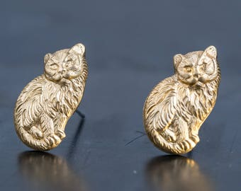 Little Brass Long Hair Cat Stud Earrings