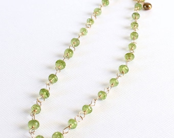 Peridot Choker- Adjustable, Gemstone Choker Necklace