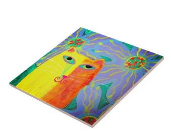 Yellow Cat with Blue Flowers Abstract Painting Printed on Ceramic Tile