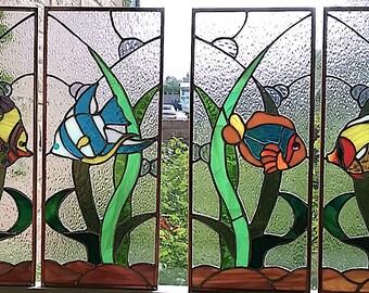 Tropical Fish Cabinet Door Inserts or Window Panels