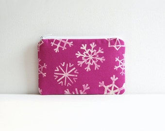 Small Zipper Pouch, Coin Purse, Women and Teens, Christmas, Snowflakes in Grape, Garland Collection by Cotton + Steel