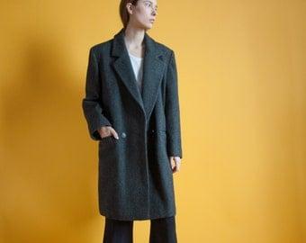 menswear oversized tweed coat / vtg 80s wool coat / oversized coat / m / 547o / R3