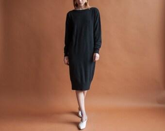 black cashmere knit dress / midi sweater dress / lbd minimalist dress / s / 2124d