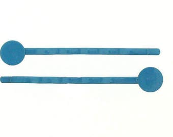 48 pieces - 50mm Turquoise Metal Bobby Pin with Glue Pad - Hair Clip - hat pin - bows