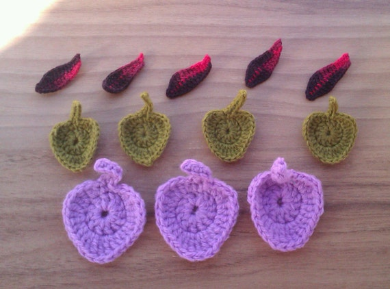 Hand crocheted leaf applique shapes - three different styles