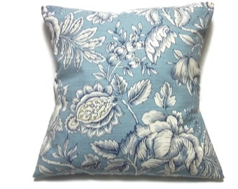 Decorative Pillow Cover Bold Floral Design Light Blue Navy Blue White Same Fabric Front/Back Toss Throw Accent  18x18 inch  x
