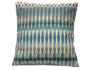 Decorative Pillow Cover Shades of Blue Beige Gray Camel Same Fabric Front/Back Toss Throw Accent 18x18 inch x