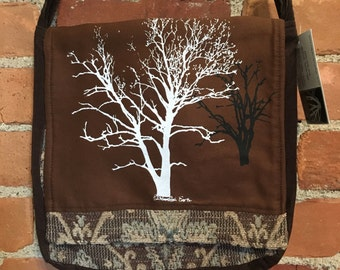 Sycamore and Walnut Tree Messenger Bag Brown Tan 10 x 10
