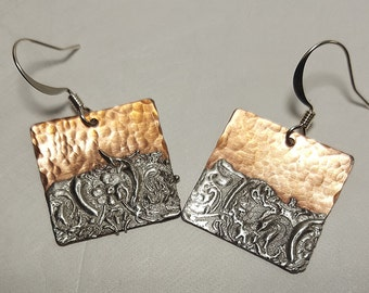 Copper Solder Stamped Earrings #4