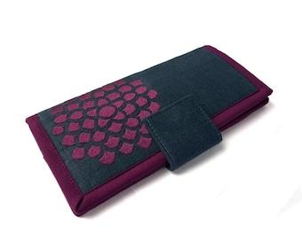 Women's wallet -  Card wallet - Purple flower wallet - Bifold wallet - Navy blue wallet