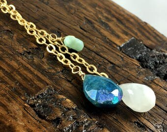 Long Gold Layering Necklace with Gemstones / Moonstone, Chrysocolla, Amazonite, White Sapphire, Moss Aquamarine