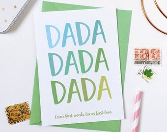 First Words Personalised Father's Day Card - Daddy Card - Baby And Dad Card - Daddy Keepsake